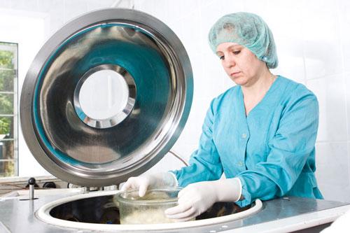 A bone graft being prepared